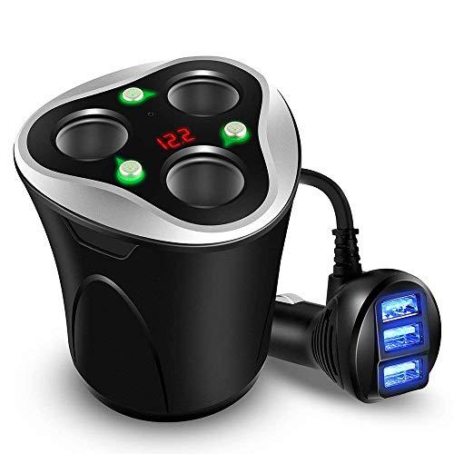 V.JUST 3 Sockel Zigarettenanzünder Splitter + 3 USB Auto-Ladegerät Adapter 120W DC Steckdose Mit EIN- / Aus-Schalter Und Dash Cam (Schwarz)
