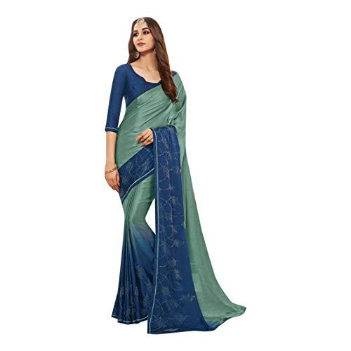 ETHNIC EMPORIUM Damen Swarovski Stein Satin Sari Stilvolle Partei Formal Printed Saree mit Blusen Pakistani Indische Frauen 7506 6,25 mtr Wie gezeigt (Satin-sari)