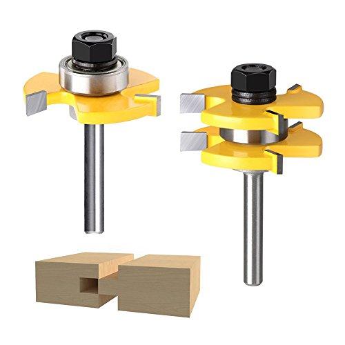 Crewell Zunge Groove Router Bit-Set T Form Holz Fräser Schaft holzbearbeitungswerkzeuge