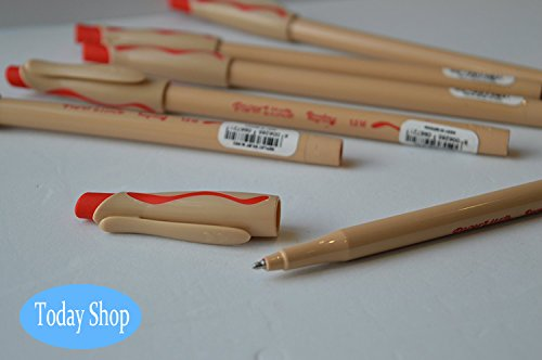 [6 pack] paper mate penna cancellabile reply con gomma confezione da 6 pezzi, colori a scelta, verde,blu e rosso (rosso)