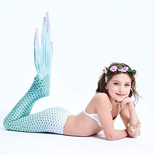 Kddd coda sirena bambina con coda sirena bambina per nuotare con monopinna ragazze cosplay costumi da bagno mermaid shell costume da bagno 3pcs insiemi del bikiniemerald-8