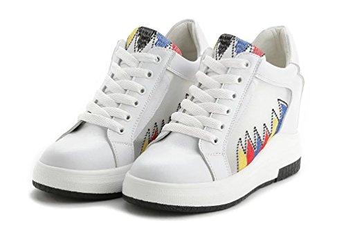 Damen Sneaker Keilabsatz Low Top Hidden Wedges Weiß Sommer