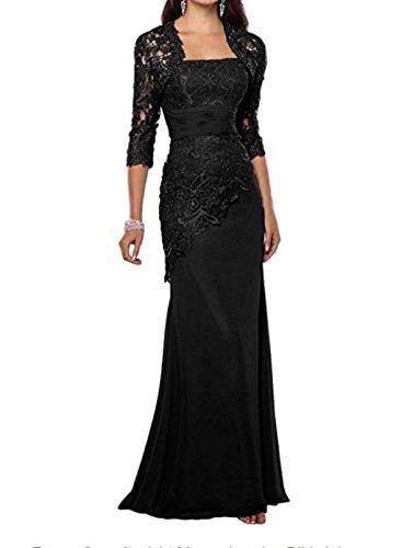 Alice Dressy Elegant Mermaid Abendkleid Festkleid Hochzeitskleid lang Spitze Brautmutterkleid Partykleid mit Bolero (Schwarz Spitze Mermaid Prom Kleid)