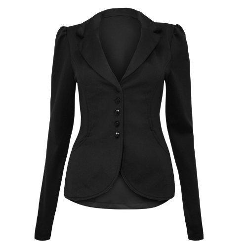 Paradis Couture - Damen Blazer 5 Knöpfe eleganter Damen Büro Blazer Jacke Größen 36 - 42 - Schwarz, 42 (Jacke Couture Blazer)
