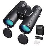 ENKEEO Prismáticos 10x42mm Binoculares Impermeables FMC BAK-4 Roof Compatible con el Teléfono Clear Vision para Conciertos Deportivos Juegos Sightseeing Hunting Bird Watching (Black Gray)