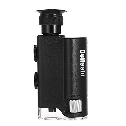 KKmoon Microscopio Multifuncional 160X-200X con Luz LED y UV Lupa Ajustable Herramienta de Lupa Enfoque de Ampliación