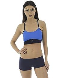 Stanteks Sport Bikini Damen Bikini-Set Sport Top & Hotpants Schwimmbikini Zweiteiliger Badeanzug Fitness Schwarz