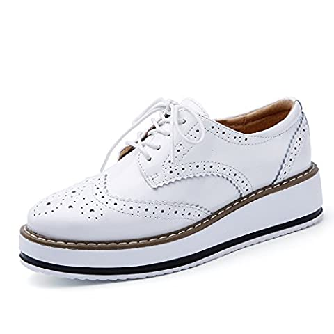 AG366-1baise35 EnllerviiD Women's Lace Up Patent Leather Oxford Shoes Platform Cut-Outs Brogue Students Fashion Sneakers White