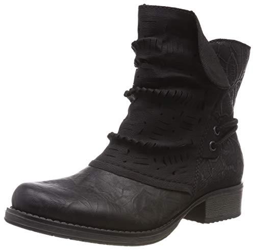 Rieker Damen Y9788 Kurzschaft Stiefel, Schwarz (Schwarz/Black-Silver 01), 39 EU