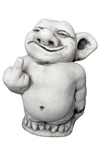 """Lustiger Troll """"Mittelfinger"""" Stinkefinger aus Steinguss, frostfest"""