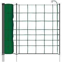 Malla eléctrica para ovejas y perros, rollo de 50m de longitud y 90cm de altura, 20 postes sencillos y kit de reparación, color verde pino