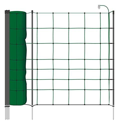 Filet mouton 50m H : 90cm vert VOSS.farming 20 piquets pointe unique clôture électrique