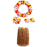 Amosfun Conjunto de Falda y Collar de Hierba Hawaiana de Doble Capa Vestido de Hierba Colorida Traje Hawaiano Traje Traje de Fiesta 5PCS 60 CM