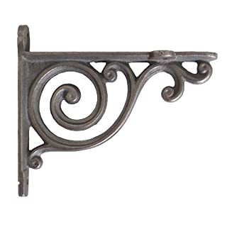 Pair of Small Cast Iron Shelf Brackets with Victorian Scroll Design (9cm x 10cm)