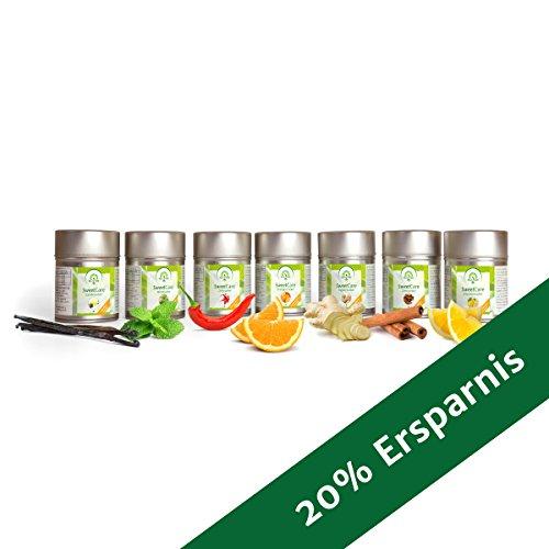 SweetCare Vanille-, Orangen-, Zimt-, Ingwer-, Chili-, Zitronen-, Mint- Zuckerersatz mit Erythritol und Stevia, die natürliche Alternative zu Zucker