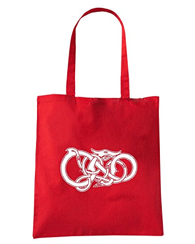 T-Shirtshock - Borsa Shopping TIR0268 Viking Dragon in black Rosso