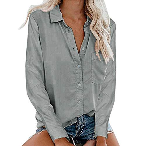 Motley Crue Kostüm - TOPKEAL Damen Sommer Tops Shirts Kurzarm Casual Hemd mit Aufgesetzten Taschenknöpfen Langarm Oberteile T-Shirt Bluse Basic Tee Mode 2019 (Grau, XXXL)