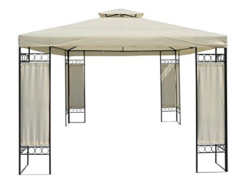 Festlicher Gartenpavillon Gazebo mit Entlüftungsfunktion - Garten Pavillon Zelt 4x3m beige