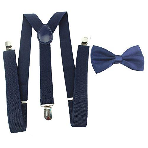 1 Conjunto Unisex Tirantes Y Pajarita Elástico Ajustable Para Hombre Con 3 clips De Ancho 2.5 CM Color Puro (7)