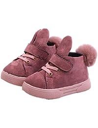 Lindas Botas de Nieve para niñas Botas Cortas de Moda de Cuero Zapatos para niños otoño e Invierno niños más Terciopelo cálido Botas Martin Zapatos para bebés y niños pequeños