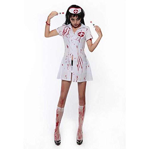 KAIDILA Halloween Horror blutigen Ghost Bride Krankenschwester Kostüm Ghost Festival mit Blut befleckt Blut Erwachsenfrau Gespenst Braut beängstigend C Ostume