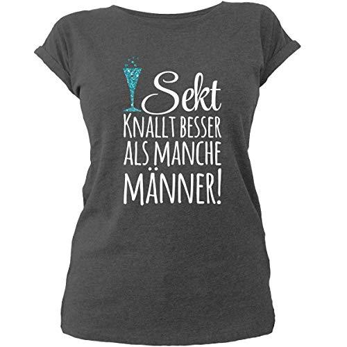 Shirtfun24 Damen Sekt knallt Besser als Manche Männer Sprüch Statement T-Shirt, Charcoal, M