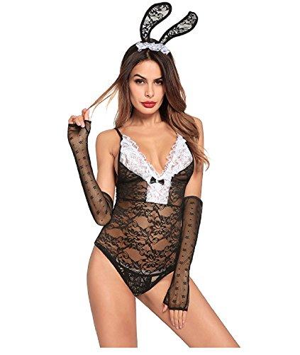 Schwarzer Häschen-Anzug Frauen Charming Bunny-Set Häschen-Mädchen Kostüm Outfit Charming Dessous (Schwarze Häschen Anzug)