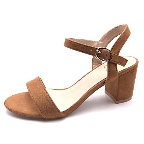 Camel High Heels (Angkorly - Damen Schuhe Sandalen Pumpe - kleine Fersen - Plateauschuhe - Offen - Basic - Basic - String Tanga Blockabsatz high Heel 6.5 cm - Camel FC-33 T 38)