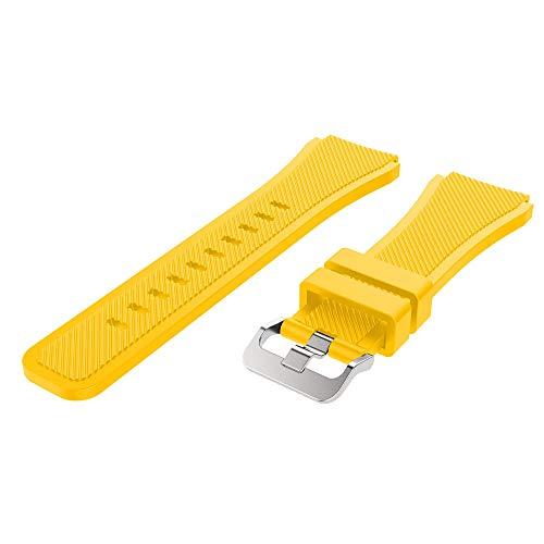 YBWZH Soft Silicone Watch Band Replacement Band Strap for Samsung Galaxy Watch 46mm Watch Straps Silikon Uhrenarmband mit Schnellverschluss(Gelb)