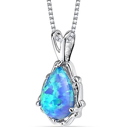 Revoni-Imperial Beauty : Pendentif en forme de poire pierre carreaux coupe Chaîne en argent Blue Opal