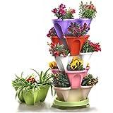 combinación de múltiples capas de tres dimensiones flor de soporte del pote de flor cultivar hortalizas balcones tipos de macetas de plantas de fresa ollas araña carnosa ( Color : Verde , Estilo : A )