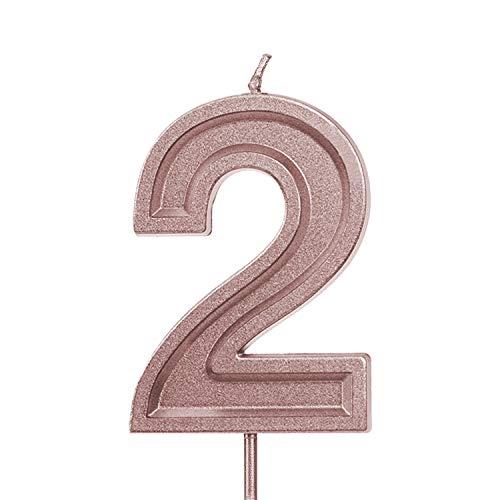 LUTER 2.76 Pulgadas Grande Oro Rosa Resplandecer Velas de cumpleaños Pastel de cumpleaños con Velas Número de Velas Decoración de la Torta para la Fiesta de Bodas Niños Adultos, Número 2