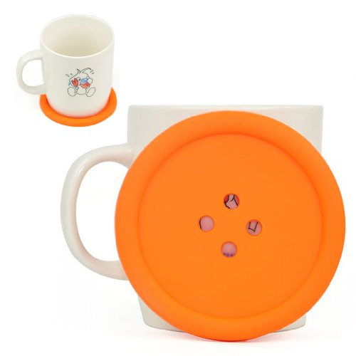 sodialr-big-button-silicone-coaster-fun-novelty-design-kitsch-retro-drinks-placemat-orange