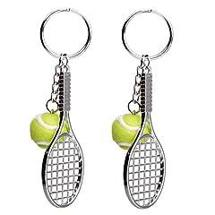 Idea Regalo - EQLEF Portachiavi Racchetta da Tennis, Portachiavi Creativo Portachiavi Sport Portachiavi Tennis Palla 2 Pezzi