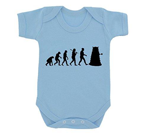 Evolution of a Cyborg Mutant Design Baby Body SKY BLAU mit Schwarz Print Gr. 6-12 Monate, himmelblau