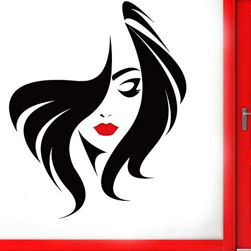 Peluquería Peinado Pared de cristal Puerta Ventana Vinilo Pegatina Salón de belleza Cara de mujer con labio rojo Tatuajes de pared Murales DIY 42 * 52 cm