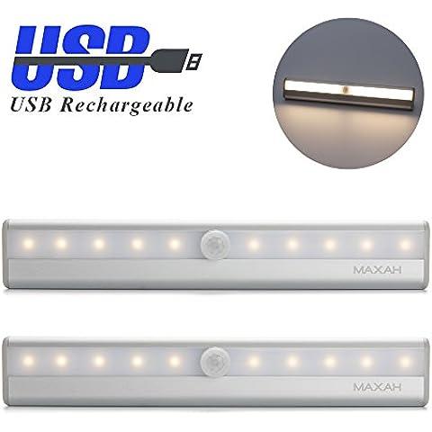 MAXAH® 2x USB Lámpara de iluminación del sensor 10 LED de luz automático PUR banda de detección de movimiento inalámbrico luz infrarroja para el gabinete cajón del gabinete de la lámpara de pared escalera de luz de noche Armario con banda magnética (tipo USB, blanco cálido)