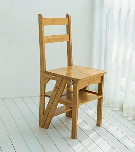 CAIJUN Échelle Pliante Étagères Multifonctions De Quatre Étapes en Bambou Chaise Bébé Échelle De Montée, Couleur Bois Chair Ladder