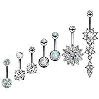 Wolintek 7pcs Navel Piercing Jewellery Stainless Steel Belly Button Bar Set Navel Body Piercing Jewelry, Silver Tone
