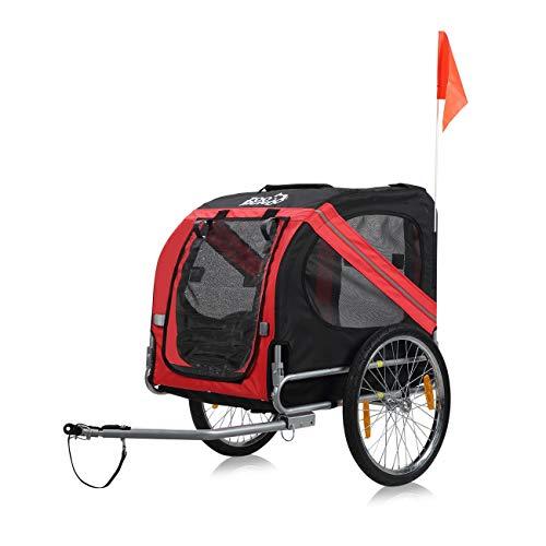 zoomundo Fahrradanhänger Hundeanhänger für Hunde-Transport in Rot/Schwarz - Silver Frame (Hund Fahrrad Anhänger)