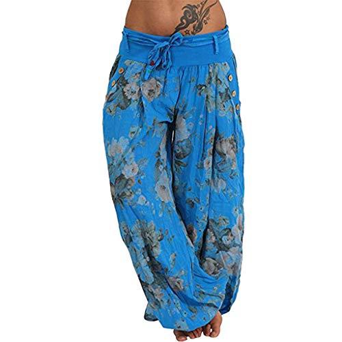 Watopi Damen gedruckte Baggy Hippie Boho Hose Taschen Band Strandhosen Breite lose Bein Hosen Pilates-Hosen beiläufige Hosen Pumphose Aladin Hose