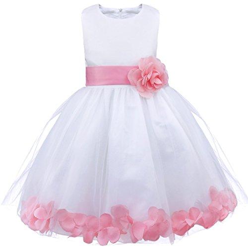 iEFiEL Mädchen Kleid Pinzessin Blumen-Mädchen Kinder Weiß Kleid Hochzeit Festkleid Kommunionkleid 92 98 104 110 116 128 140 152 164 (116, Hell Rosa)