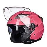 GHL Motorrad Helm Doppelte Linse Halb Über Sicherheit Hut Männlich Frau Elektroauto Halber Helm,Pink,XL