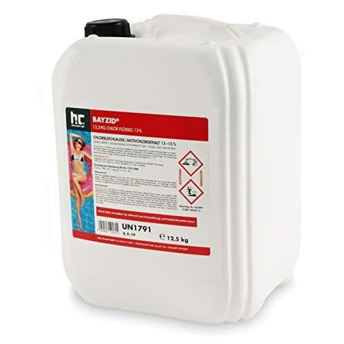 Höfer Chemie Chlor Flüssig 1 x 12,5 kg - Pool Flüssigchlor mit 13 bis 15{8cde85948f8da3585c9aab4c3b9e9c467b3a8718955eab0af9d9379b8a2c4d67} Aktivchlorgehalt zur Poolpflege und Wasserdesinfektion - Made in Germany
