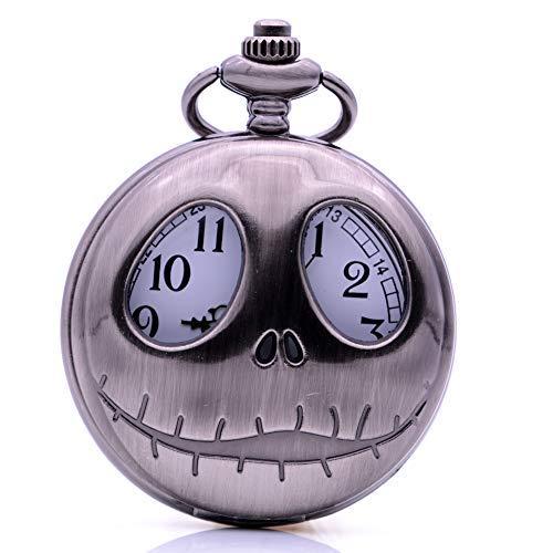 Punk Cool The Nightmare Before Christmas Reloj de Bolsillo de Cuarzo Colgante Cadena para Hombre Mujer