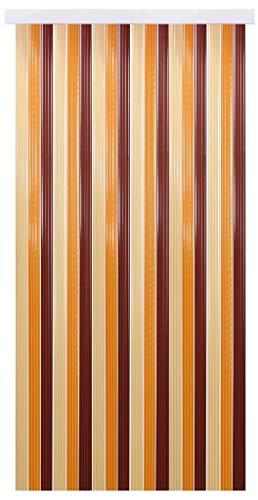 Tenda a fili per porta, con effetto lurex, plastica, beige - braun - dkl braun, 90 x 200 cm