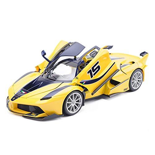 SXET-Modellauto Modellauto Druckguss Modellsammlung Modell Sportwagen Modell 1:18 Ferrari FXXK Legierung Automodell Dekoration (Farbe : Gelb)
