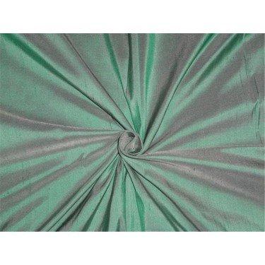Reine Seide Dupionseide Stoff grün x Elfenbeinfarben 137,2cm by the Yard -