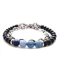 c91db4b8b7ff silveringjewelry pulsera para hombre con piedras duras naturales mixtas de  Doble vuelta