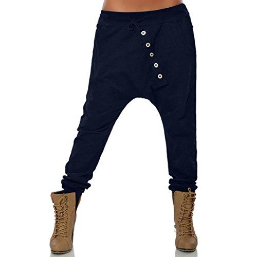 Jogging Tricot Doux Pantalon Confortable Femmes Boutons Chic Hipsters Sarouel Bloomers Mode SANFASHION(Bleu Foncé,5XL)